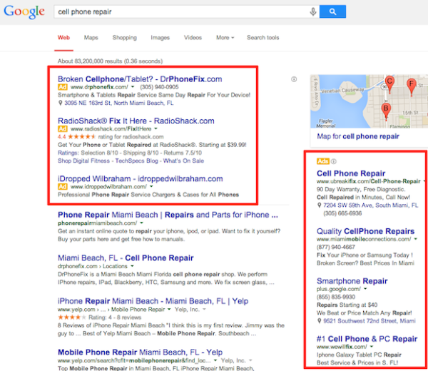 Google SERP Before