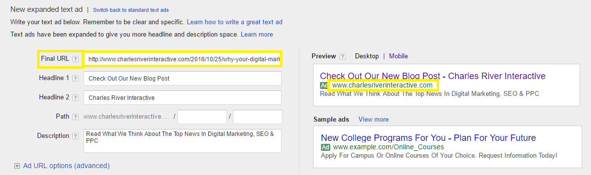 New Expanded Text Ad Google